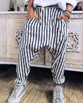 Casual Striped Elastic Waist Trouser Pants