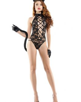 Catwoman Costume Lace Strappy Backless Teddy Set Halloween