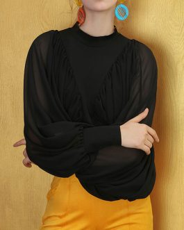 Chiffon Stand Collar Long Sleeves Tops