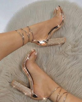 Chunky Heels – Rhinestones and Metallic Trim