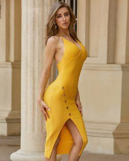 Club Sexy Backless Halter Bodycon Celebrity Party Midi Dress