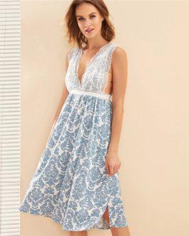 Damask Print Eyelash Floral Lace Nightwear