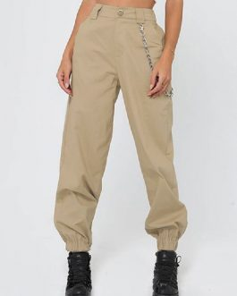Elastic Waist Cargo Long Trousers