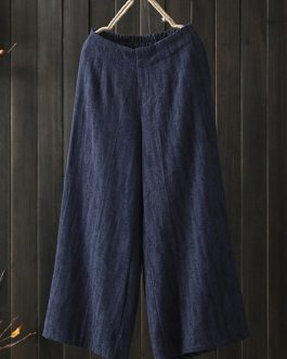 Elastic Waist Loose Cotton Wide Leg Pant with Pocket