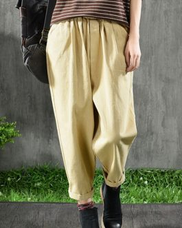 Elastic Waist Pocket Cotton Casual Pants