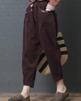 Elastic Waist Pockets Corduroy Pants