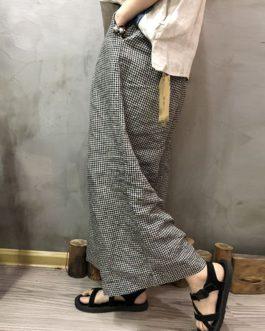 Elastic Waist Pockets Loose Wide Leg Pant