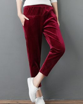 Elastic Waist Pockets Solid Color Velvet Pants