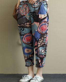 Elastic Waist Printed Harem Pants