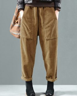 Elastic Waist Solid Color Harem Pants