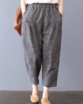 Elastic Waist Stripe Pocket Harem Pants