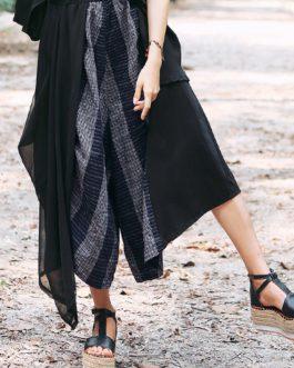 Elastic Waist Striped Wide Leg Pant