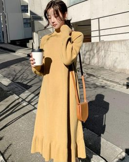 Elegant Half-turtleneck Loose Sweater Dress