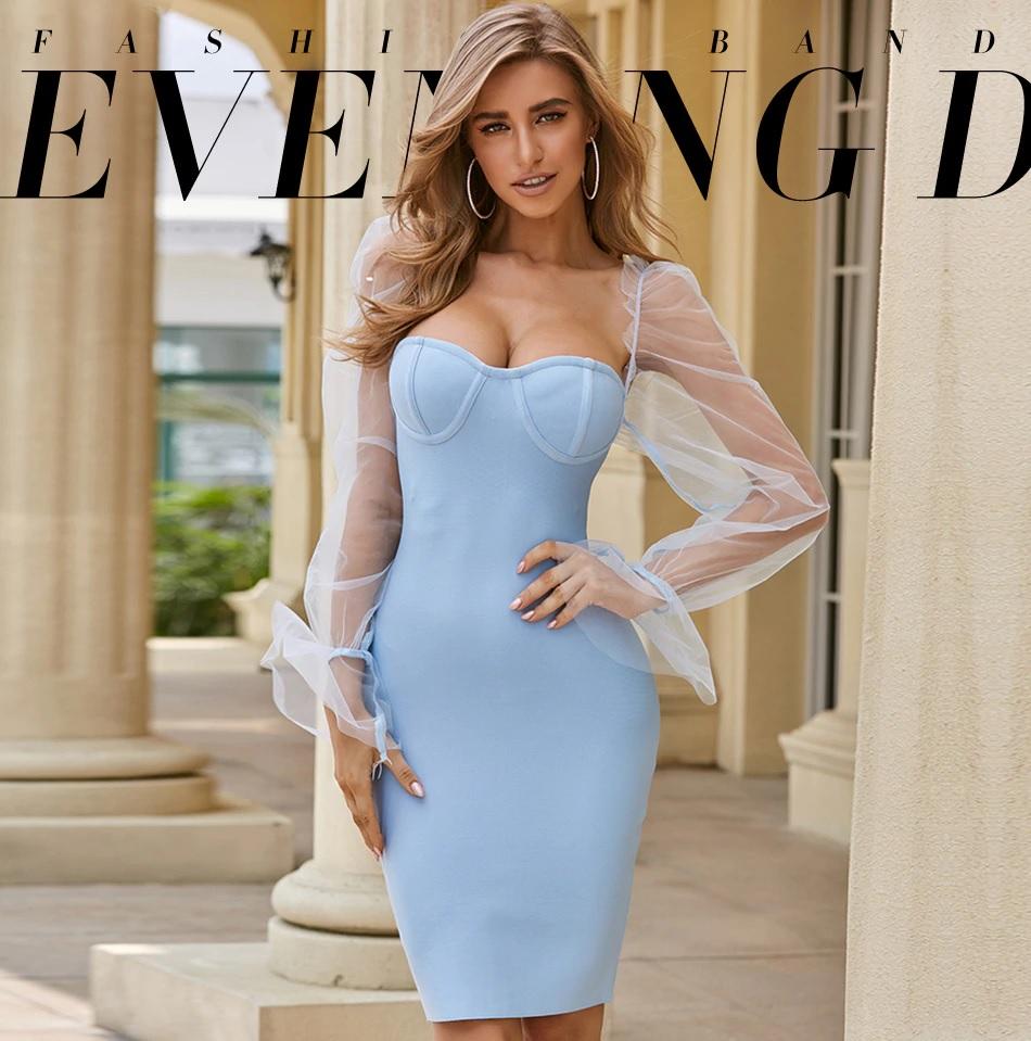 Elegant Lace Long Sleeve Celebrity Sexy Club Party Bandage Dress 2
