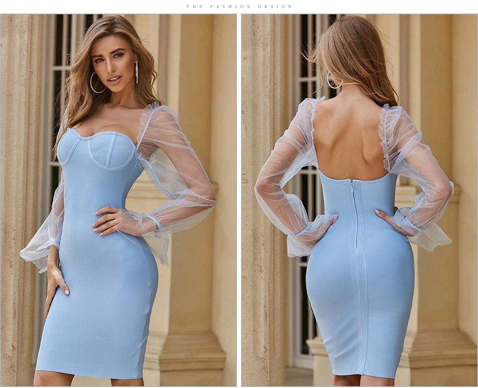 Elegant Lace Long Sleeve Celebrity Sexy Club Party Bandage Dress 6