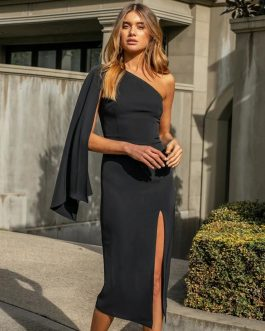 Elegant One Shoulder Runway Midi Party Dresses