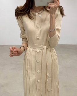 Elegant Single Breasted O-neck Lace Up Sweater Dress