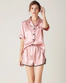 Elegant Solid V Neck Nightwear
