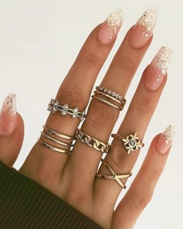 Elegant Twist Finger Rings Fashion Crystal Shiny Jewelry Gifts