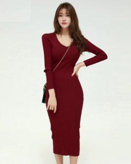 Elegant V-neck Full Sleeve Skinny Sweater Dress