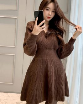 Elegant V-neck Slim Waist Knitted Sweater Dress