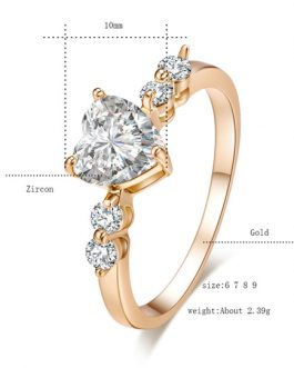 Engagement Gold Heart Crystal Copper Round Rings