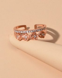 Engagement Rings Rose Rhinestone Decor Open Cuff Finger Jewelry