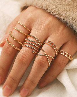 Fashion Geometric Multilayer Twisted Ring Set