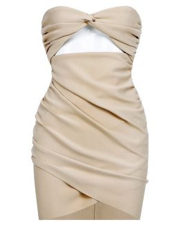 Fashion Hollow Out Strapless Party Mini Dress