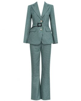 Fashion Long Sleeve Belt Jacket and Pants Two Piece
