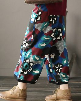 Floral Print Elastic Waist Thicken Cotton Pant