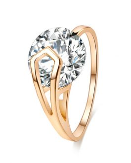 Gold Diamond Round Rings
