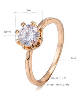 Gold Engagement Crystal Copper Round Rings