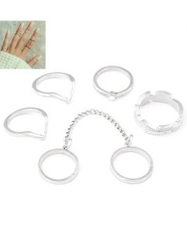 Gold Geometric Shape Chain Link Metal Rings