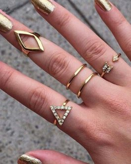 Gold Geometric Shape Rhinestone Metal Rings