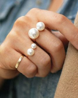 Gold Pearl Alloy Open Rings