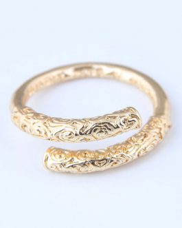 Gold Ring Open Golden Cudgel Birthday Gift Jewelry