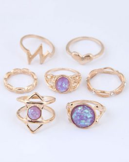 Gold Stacking Cut Out Cage Knuckle Rings Set In 7pcs