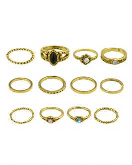 Golden Knuckle Ethnic Style Gems Jeweled Alloy 12 Pieces Ring Set