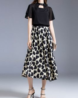 Grommets Cut Out Short Sleeves Shirt With High Waist Heart Print Dress