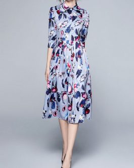 Half Sleeves Printed Turndown Collar Buttons Polyester Long Dress