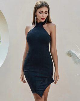 Halter Backles Sexy Bodycon Club Celebrity Runway Party Dress