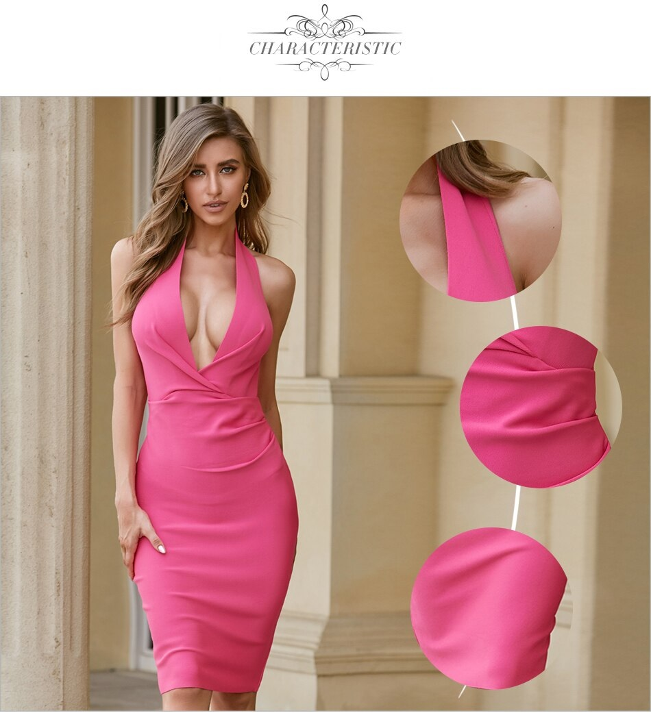 Halter Sexy Deep V Neck Celebrity Runway Club Party Dress 2