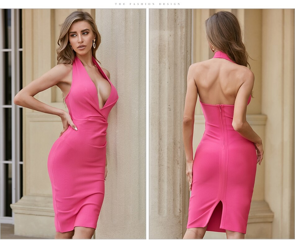 Halter Sexy Deep V Neck Celebrity Runway Club Party Dress 4