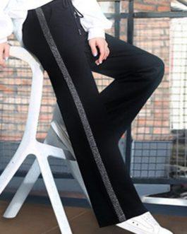 High Drawstring Waist Stripe Patchwork Pants
