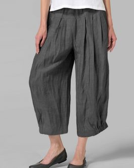 High Waist Loose Casual Solid Wide Leg Pant