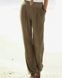 High Waist Solid Color Chiffon Wide Leg Pants