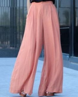 High Waist Solid Color Chiffon Wide Leg Pants
