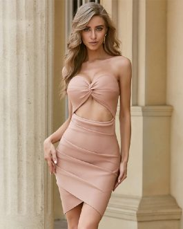 Hollow Out Strapless Vestidos Celebrity Sexy Party Bodycon Dress