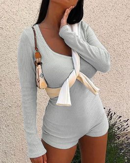 Hooded Long Sleeves Buttons Cotton Blend Skinny Jumpsuit Playsuit